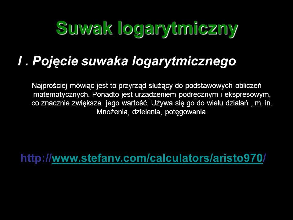 Suwak logarytmiczny I . Pojęcie suwaka logarytmicznego