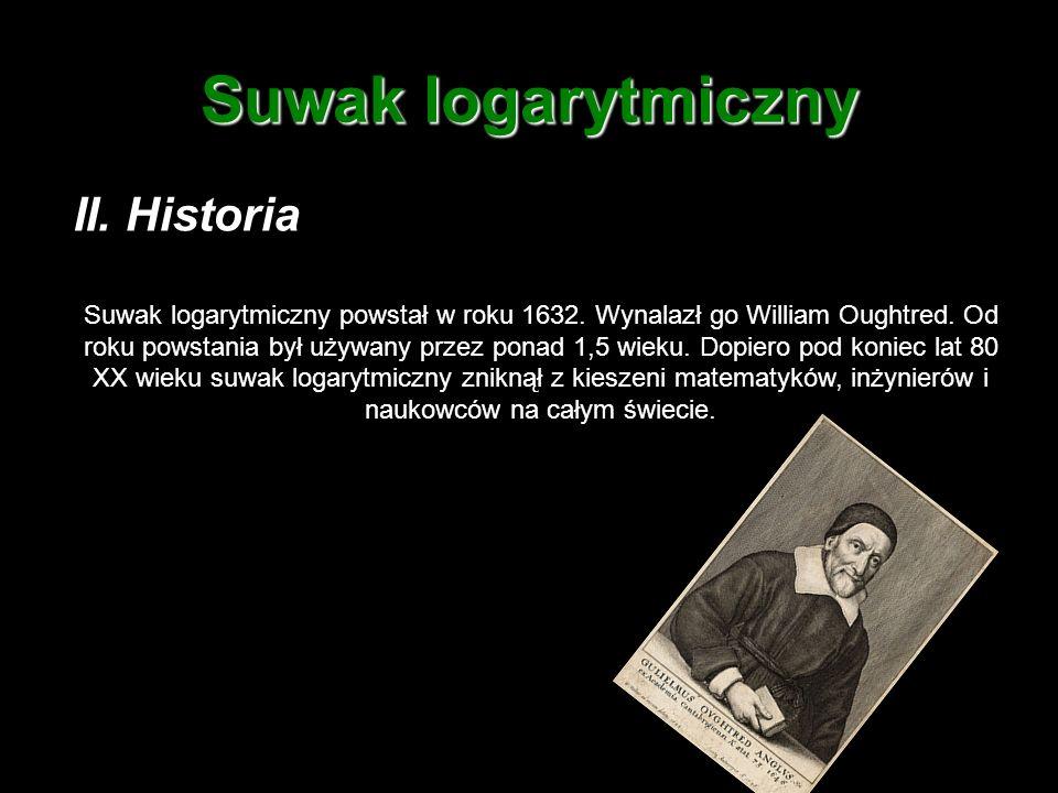 Suwak logarytmiczny II. Historia