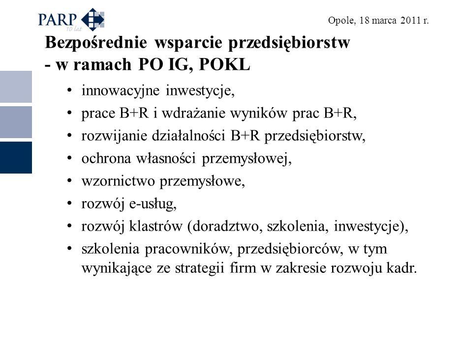 Bezpośrednie wsparcie przedsiębiorstw - w ramach PO IG, POKL