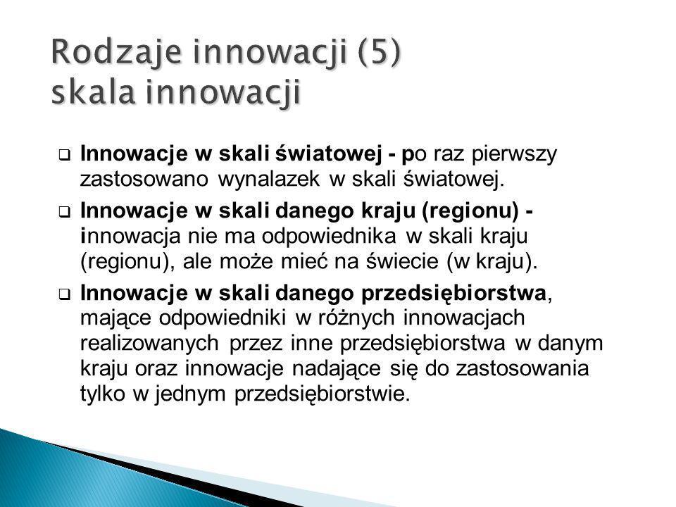 Rodzaje innowacji (5) skala innowacji