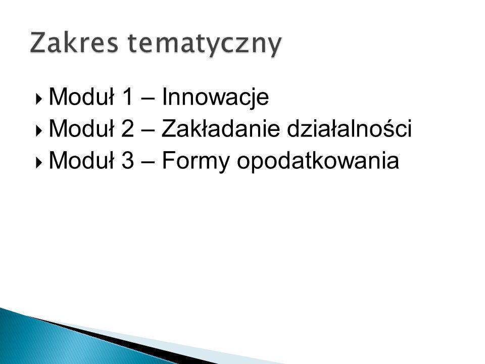 Zakres tematyczny Moduł 1 – Innowacje