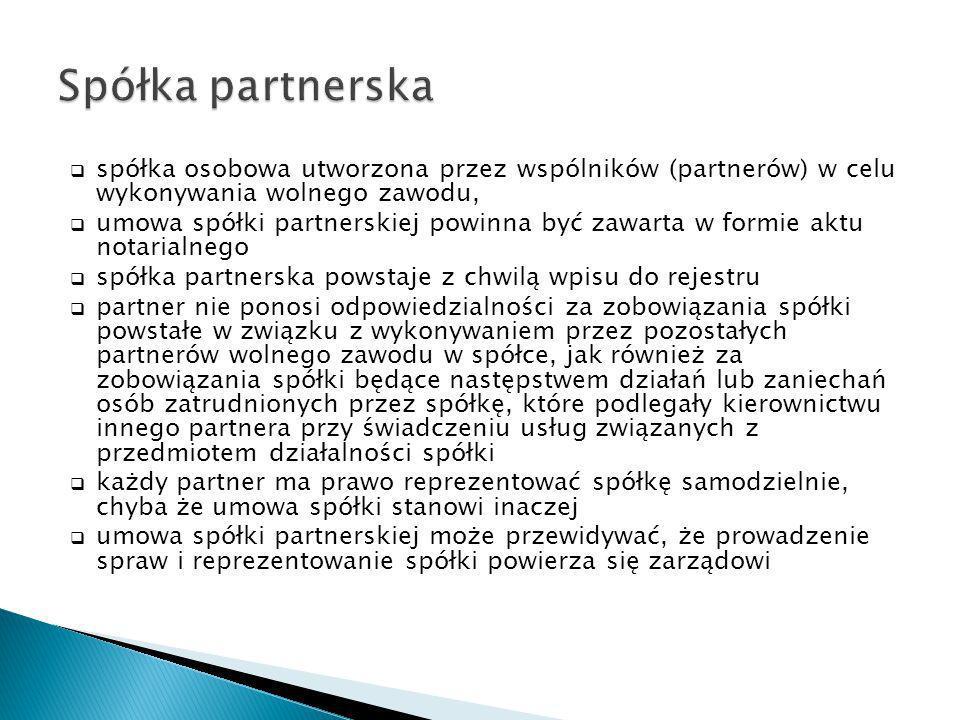 Spółka partnerska spółka osobowa utworzona przez wspólników (partnerów) w celu wykonywania wolnego zawodu,