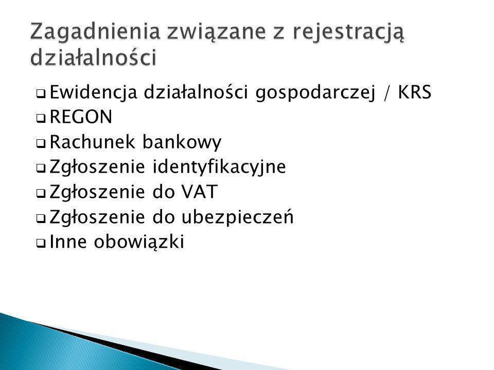 Zagadnienia związane z rejestracją działalności