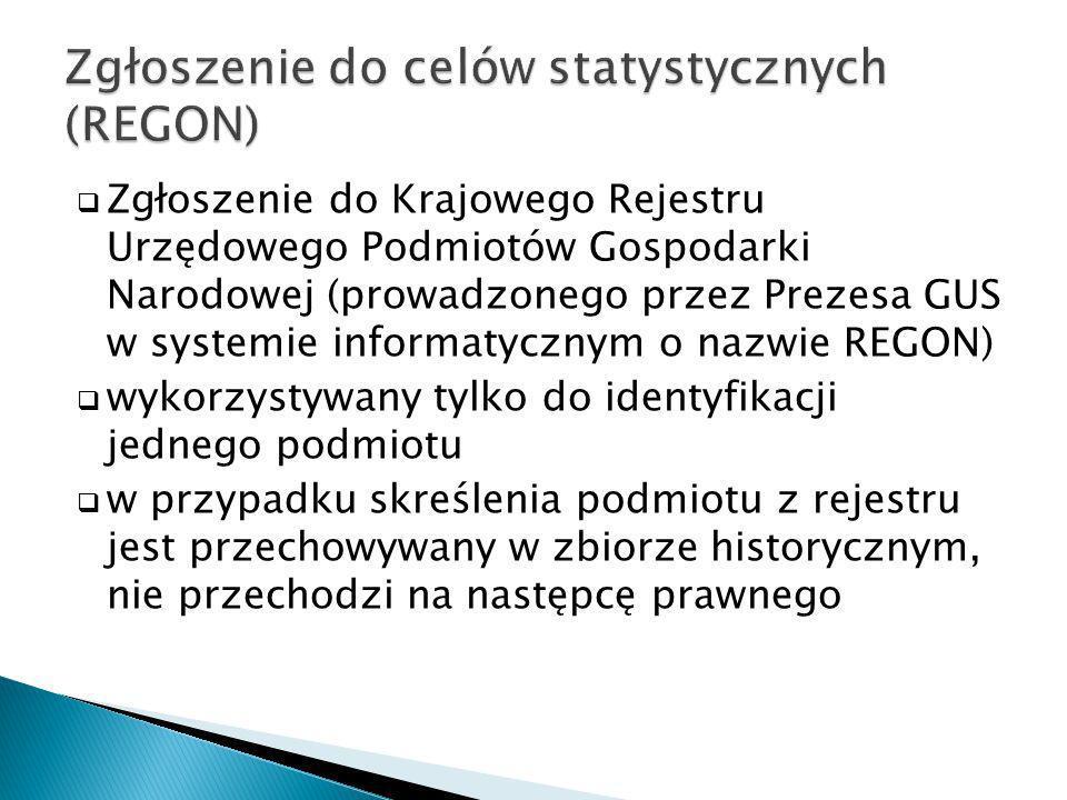 Zgłoszenie do celów statystycznych (REGON)