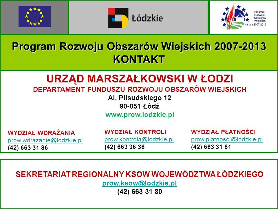 Program Rozwoju Obszarów Wiejskich 2007-2013 KONTAKT