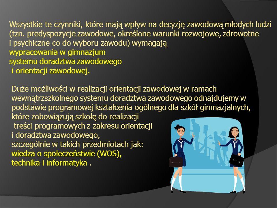 Wszystkie te czynniki, które mają wpływ na decyzję zawodową młodych ludzi (tzn. predyspozycje zawodowe, określone warunki rozwojowe, zdrowotne