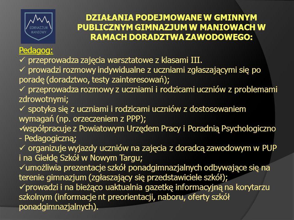 DZIAŁANIA PODEJMOWANE W GMINNYM PUBLICZNYM GIMNAZJUM W MANIOWACH W RAMACH DORADZTWA ZAWODOWEGO: