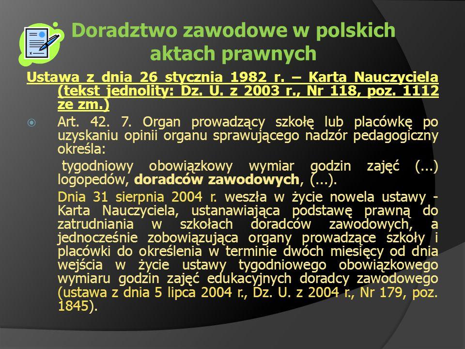 Doradztwo zawodowe w polskich aktach prawnych