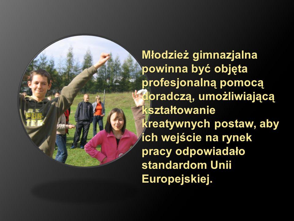 Młodzież gimnazjalna powinna być objęta profesjonalną pomocą doradczą, umożliwiającą kształtowanie kreatywnych postaw, aby ich wejście na rynek pracy odpowiadało standardom Unii Europejskiej.