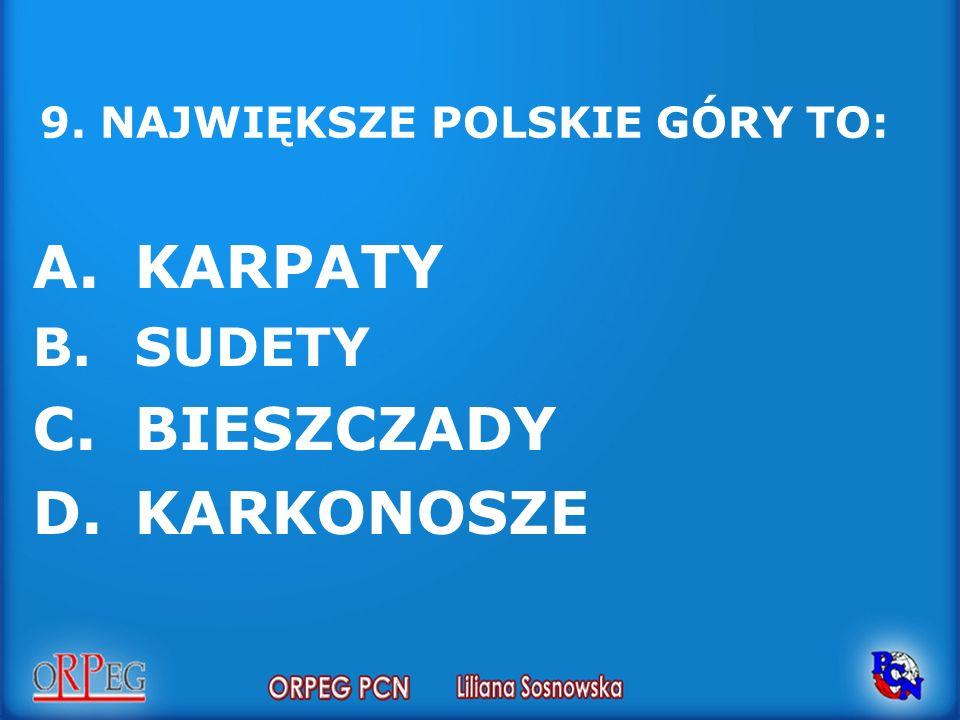 9. NAJWIĘKSZE POLSKIE GÓRY TO: