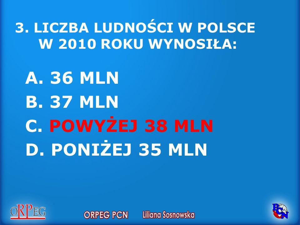3. LICZBA LUDNOŚCI W POLSCE W 2010 ROKU WYNOSIŁA: