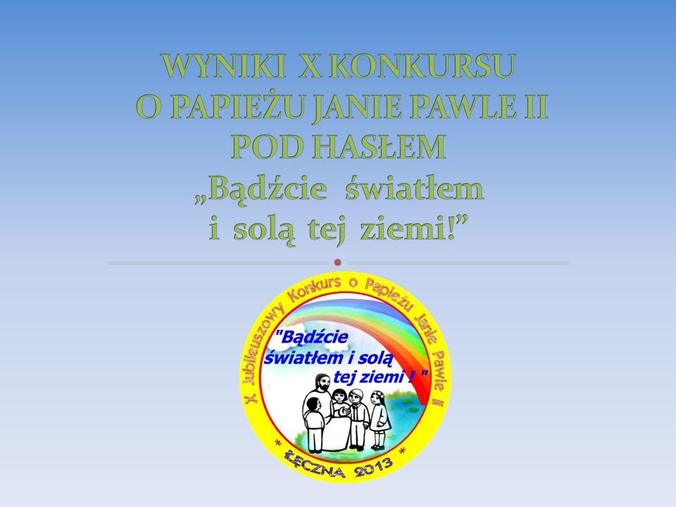 """WYNIKI X KONKURSU O PAPIEŻU JANIE PAWLE II POD HASŁEM """"Bądźcie światłem i solą tej ziemi!"""