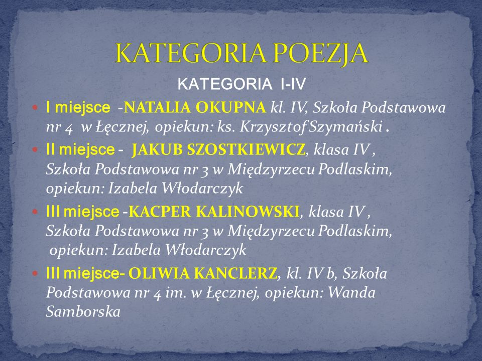 KATEGORIA POEZJA KATEGORIA I-IV