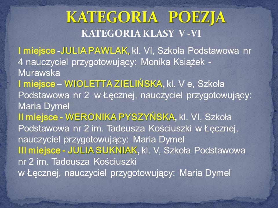 KATEGORIA POEZJA KATEGORIA KLASY V -VI