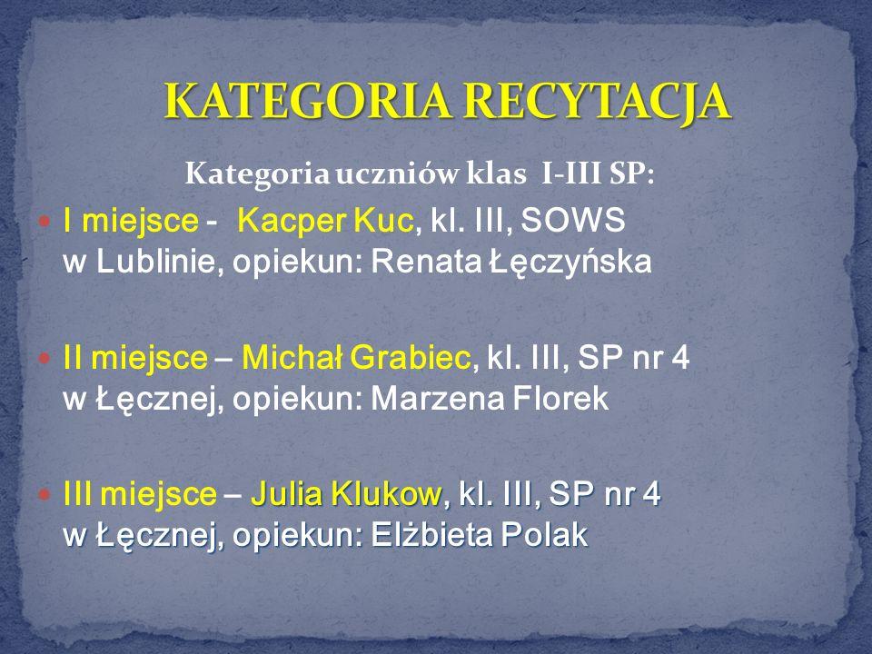 Kategoria uczniów klas I-III SP: