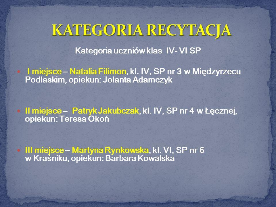 Kategoria uczniów klas IV- VI SP