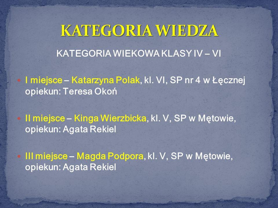 KATEGORIA WIEKOWA KLASY IV – VI