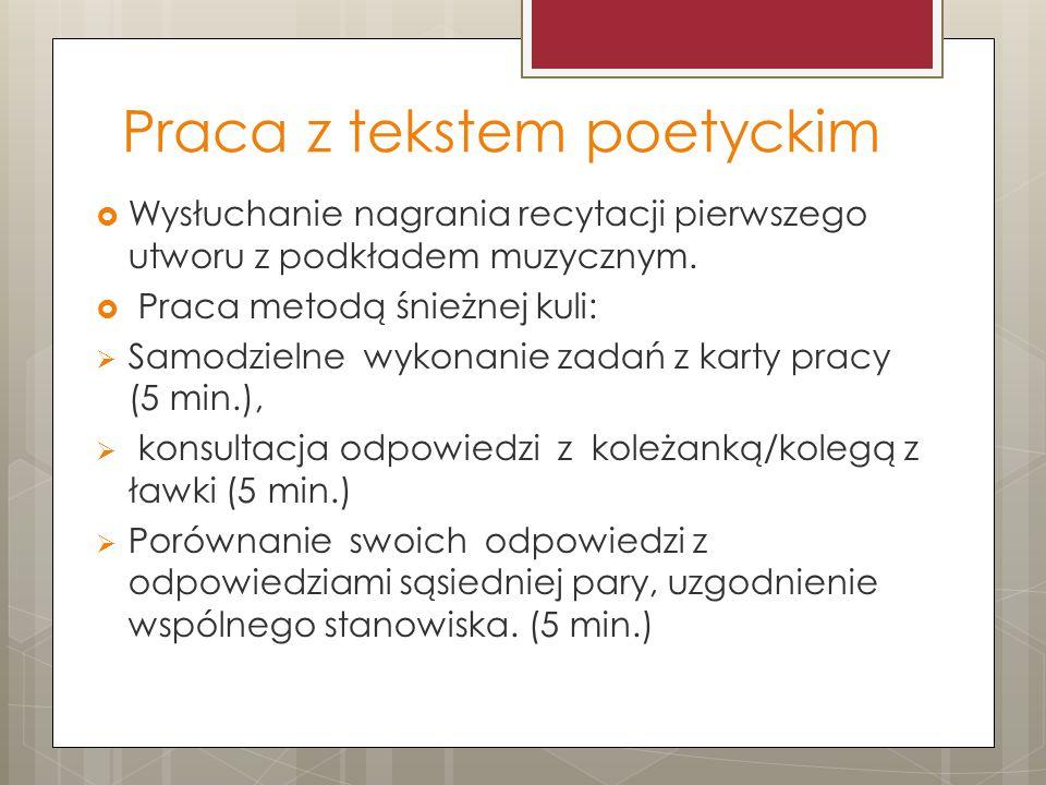 Praca z tekstem poetyckim