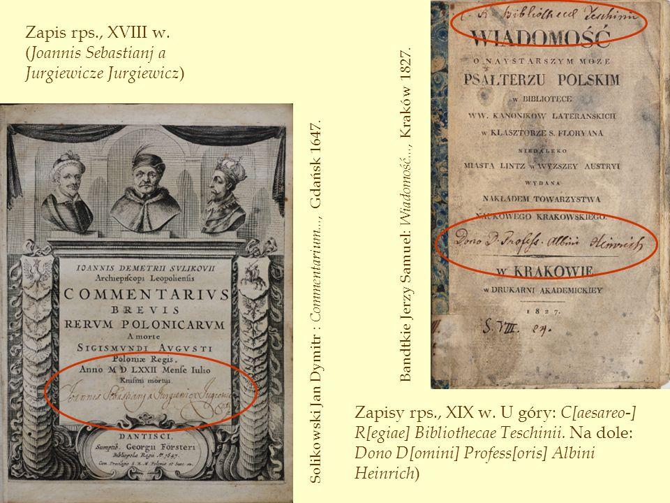Zapis rps., XVIII w. (Joannis Sebastianj a Jurgiewicze Jurgiewicz)