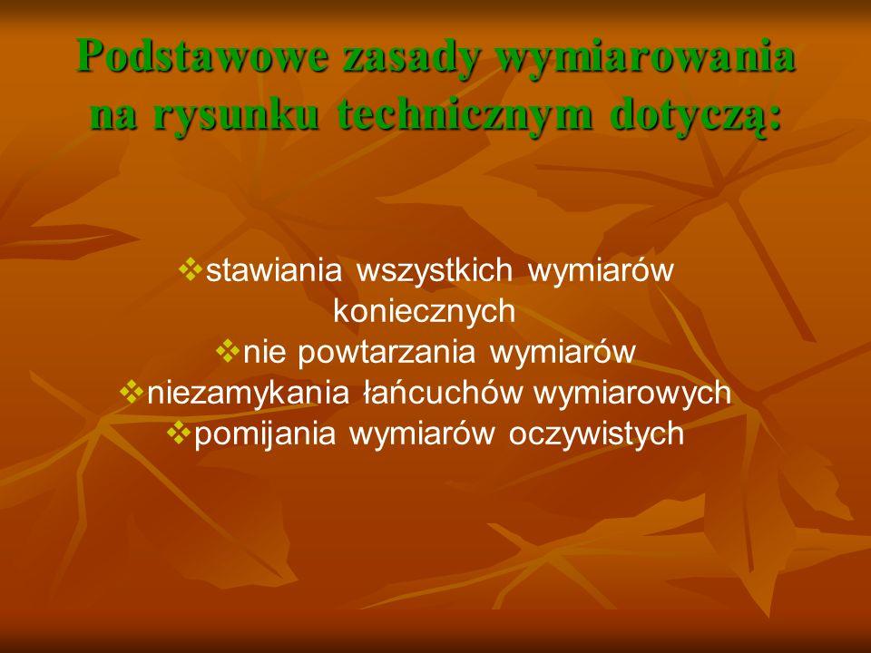 Podstawowe zasady wymiarowania na rysunku technicznym dotyczą: