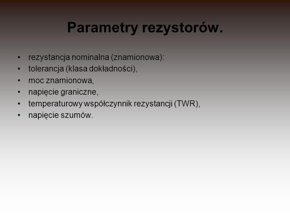 Parametry rezystorów. rezystancja nominalna (znamionowa):