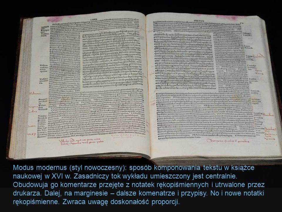 Modus modernus (styl nowoczesny): sposób komponowania tekstu w książce naukowej w XVI w.