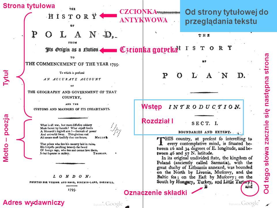 Czcionka gotycka Od strony tytułowej do przeglądania tekstu