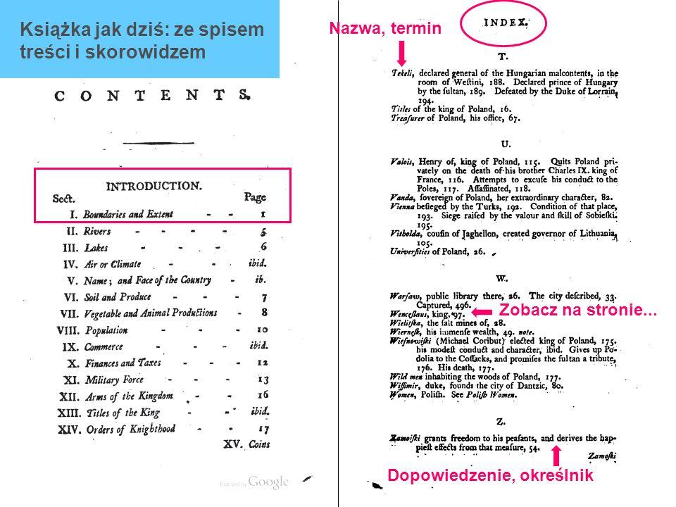 Książka jak dziś: ze spisem treści i skorowidzem