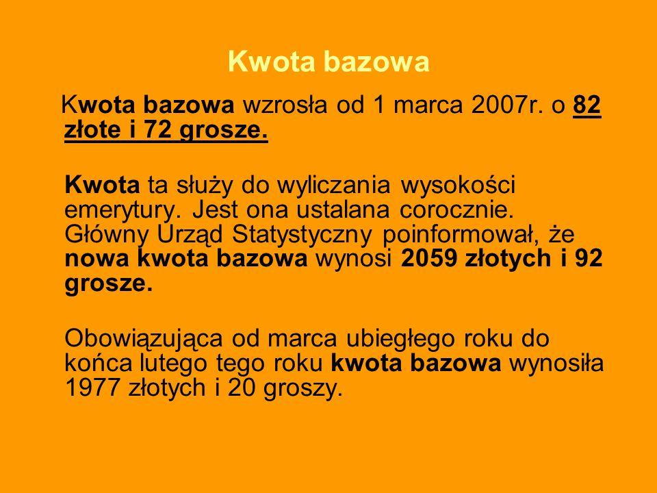 Kwota bazowa Kwota bazowa wzrosła od 1 marca 2007r. o 82 złote i 72 grosze.