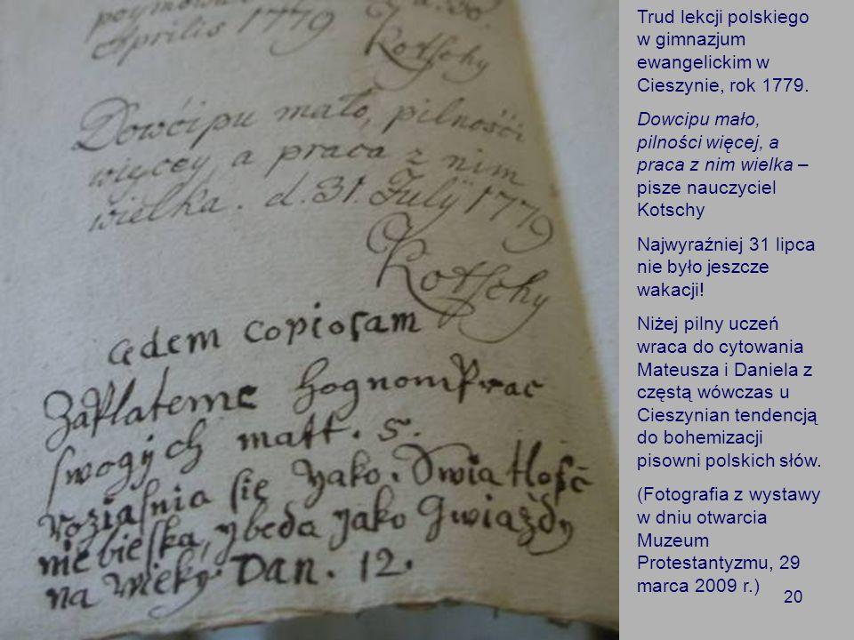Trud lekcji polskiego w gimnazjum ewangelickim w Cieszynie, rok 1779.