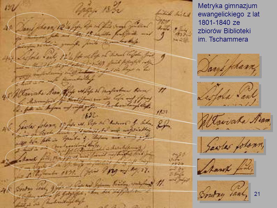 Metryka gimnazjum ewangelickiego z lat 1801-1840 ze zbiorów Biblioteki im. Tschammera