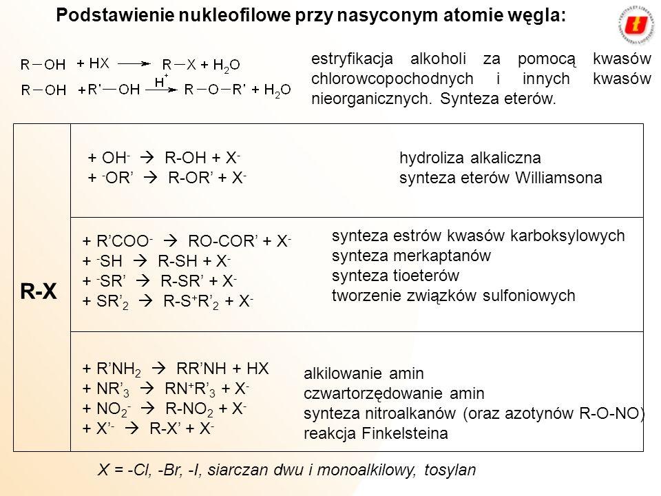R‑X Podstawienie nukleofilowe przy nasyconym atomie węgla: