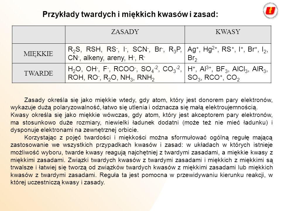 Przykłady twardych i miękkich kwasów i zasad: