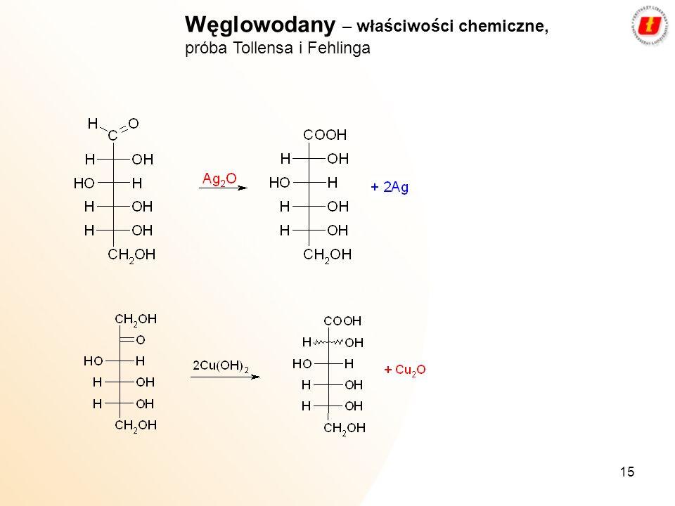 Węglowodany – właściwości chemiczne, próba Tollensa i Fehlinga