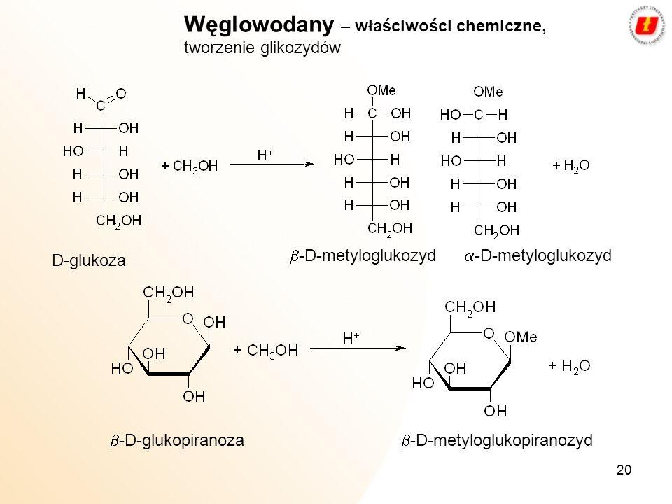 Węglowodany – właściwości chemiczne, tworzenie glikozydów