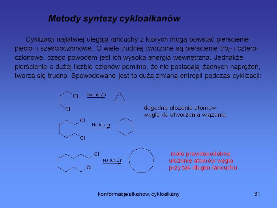 konformacje alkanów, cykloalkany