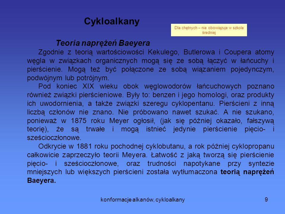 Cykloalkany Teoria naprężeń Baeyera