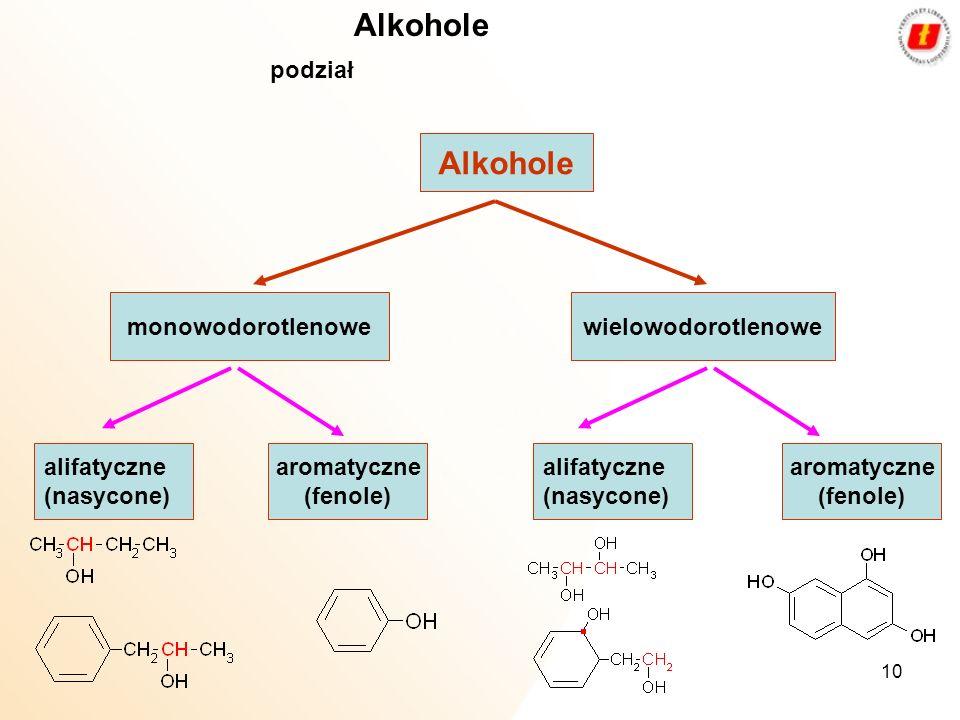 Alkohole Alkohole podział monowodorotlenowe wielowodorotlenowe