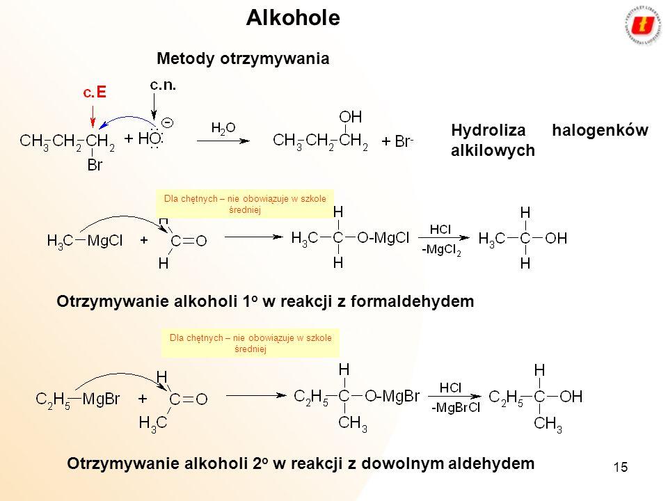 Alkohole Metody otrzymywania Hydroliza halogenków alkilowych