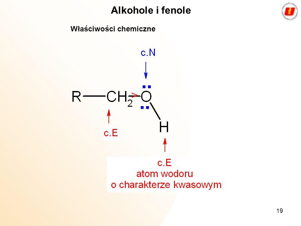 Alkohole i fenole Właściwości chemiczne