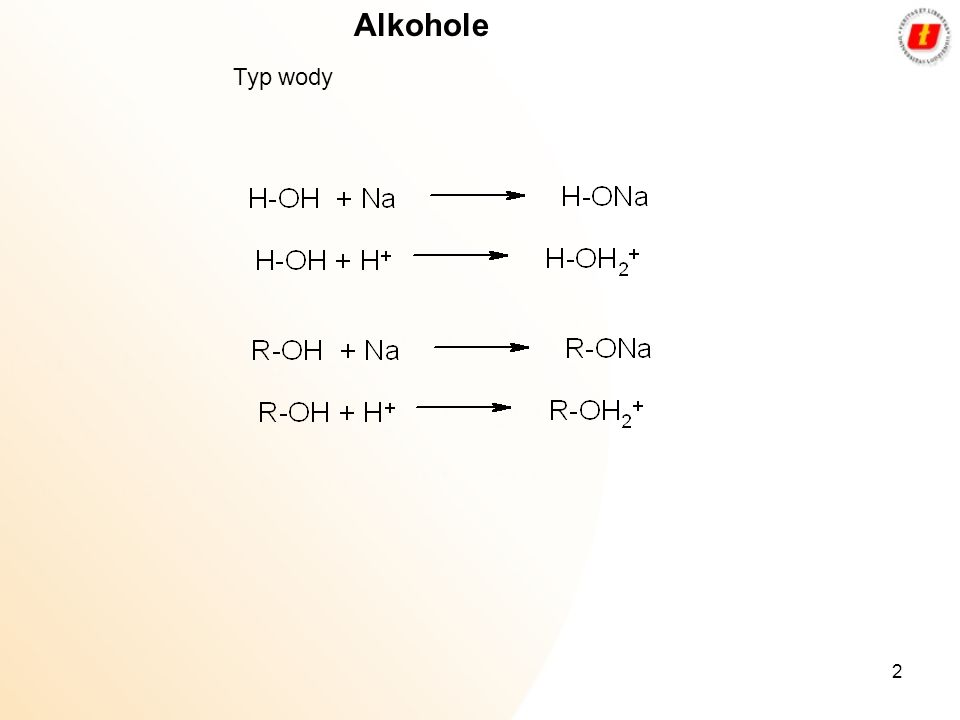 Alkohole Typ wody