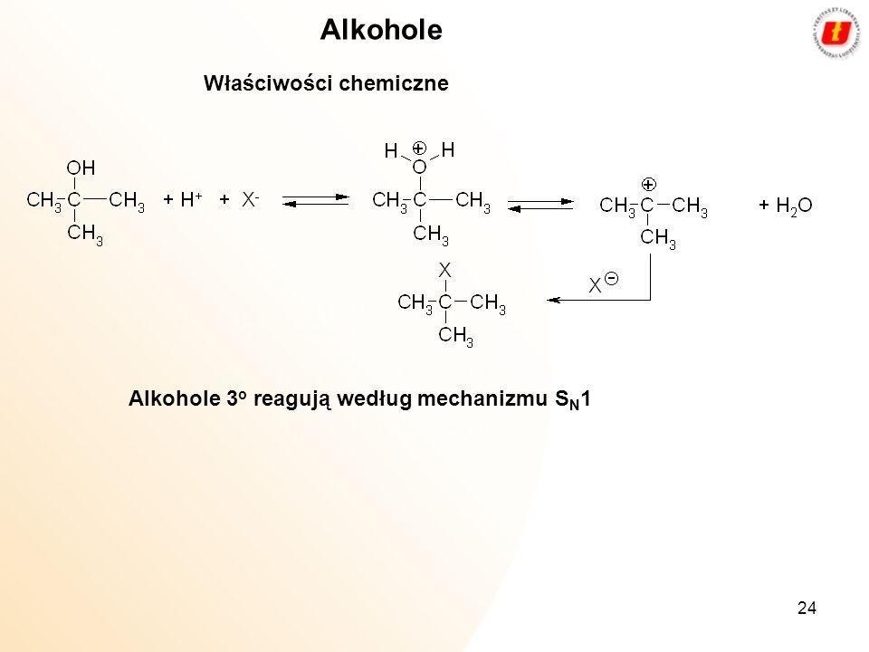 Alkohole Właściwości chemiczne