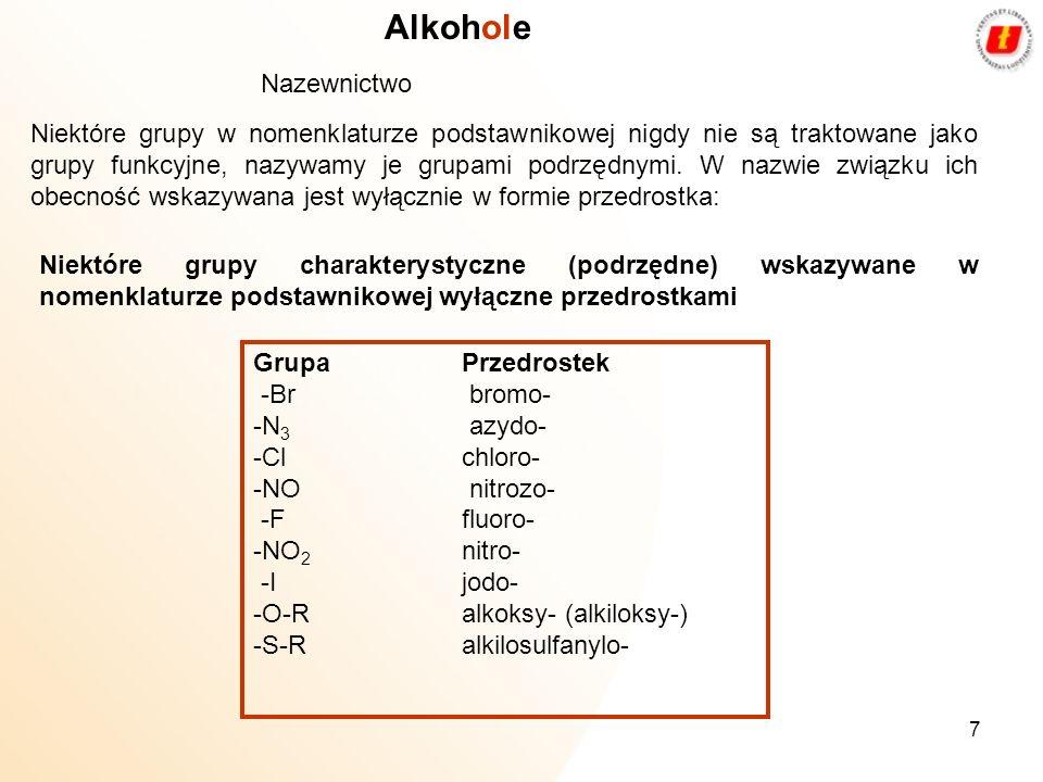 Alkohole Nazewnictwo.
