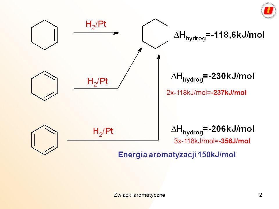 Energia aromatyzacji 150kJ/mol
