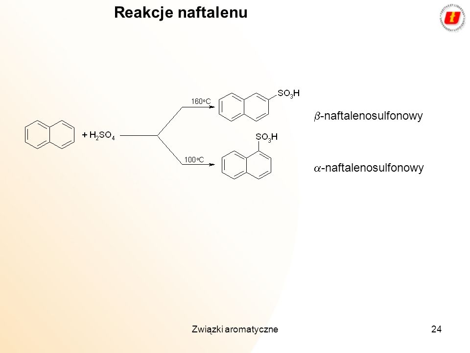 Reakcje naftalenu b-naftalenosulfonowy a-naftalenosulfonowy