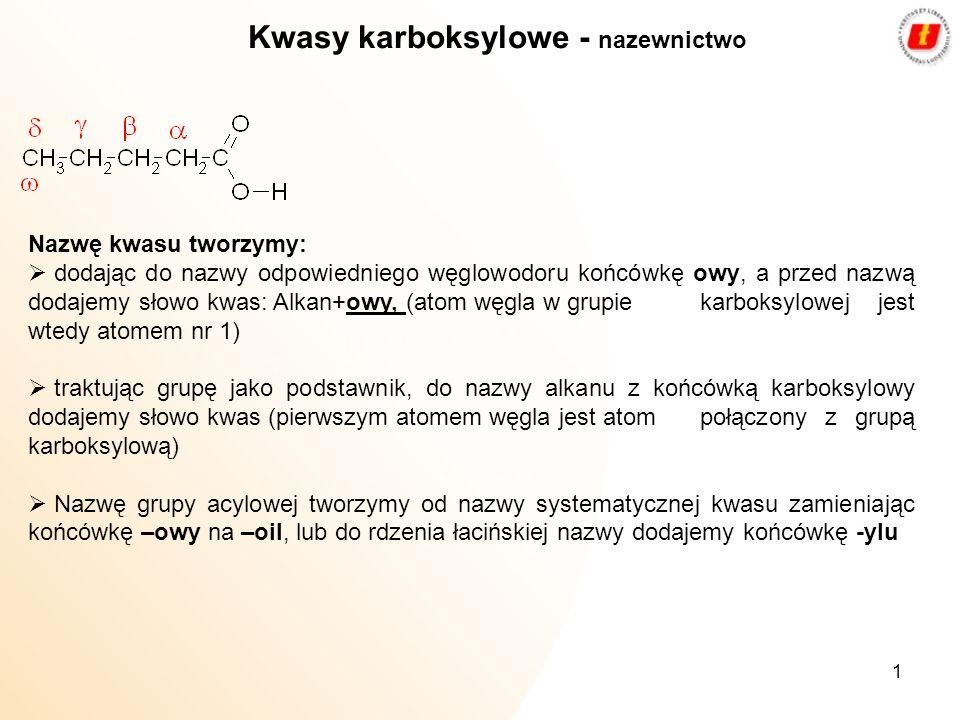 Kwasy karboksylowe - nazewnictwo