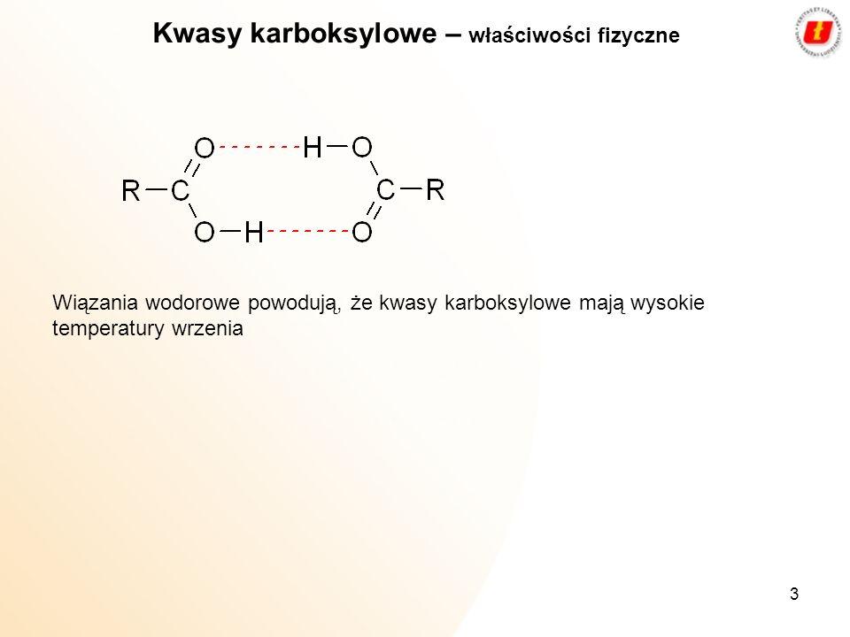 Kwasy karboksylowe – właściwości fizyczne