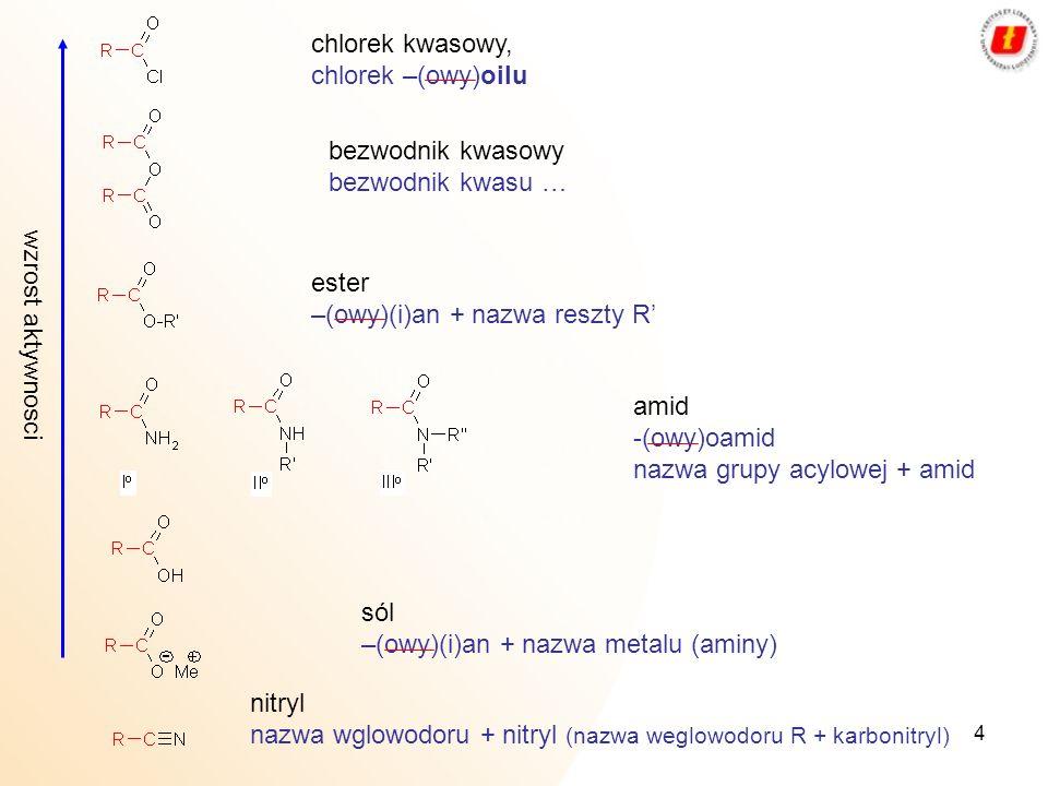 chlorek kwasowy, chlorek –(owy)oilu