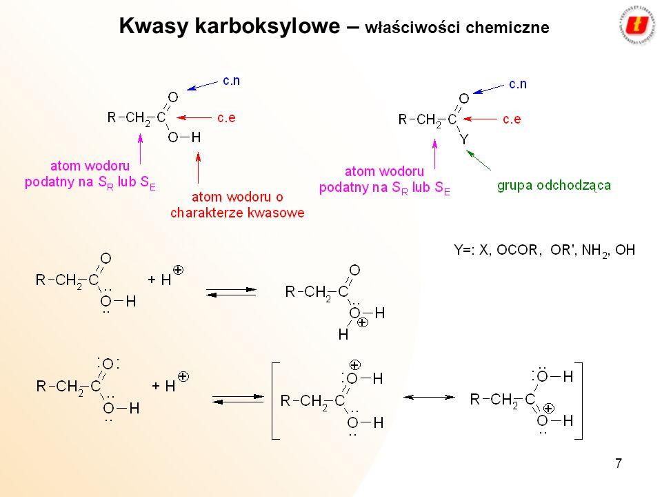 Kwasy karboksylowe – właściwości chemiczne