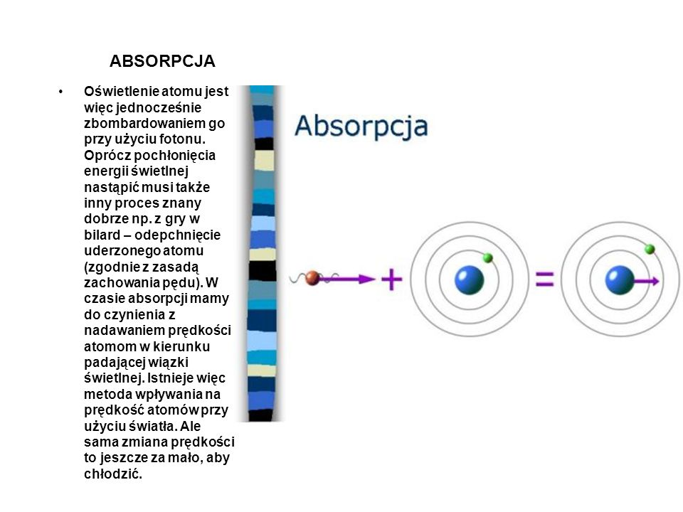 Oświetlenie atomu jest więc jednocześnie zbombardowaniem go przy użyciu fotonu. Oprócz pochłonięcia energii świetlnej nastąpić musi także inny proces znany dobrze np. z gry w bilard – odepchnięcie uderzonego atomu (zgodnie z zasadą zachowania pędu). W czasie absorpcji mamy do czynienia z nadawaniem prędkości atomom w kierunku padającej wiązki świetlnej. Istnieje więc metoda wpływania na prędkość atomów przy użyciu światła. Ale sama zmiana prędkości to jeszcze za mało, aby chłodzić.
